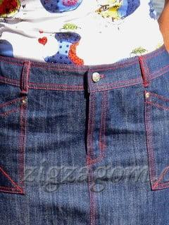 Обработка пояса – кокетки юбки из джинсы