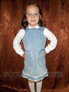 Сарафан для девочки своими руками из старых джинсов